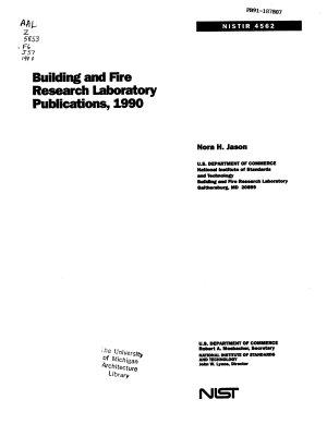 NIST Building & Fire Research Laboratory Publications