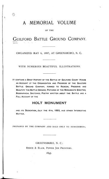 Download A Memorial Volume of the Guilford Battle Ground Company Book