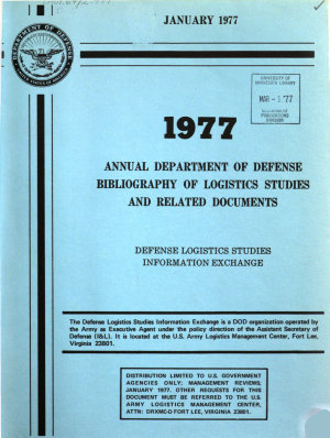 Annual Department of Defense Bibliography of Logistics Studies and Related Documents PDF
