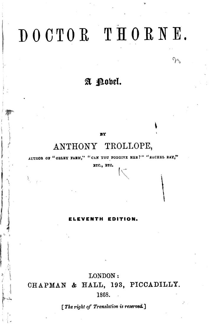 Doctor Thorne ... Eleventh edition