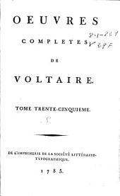 Oeuvres completes de Voltaire: tome trente-cinquième