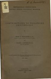Contributions to Philippine Ornithology: Part 1