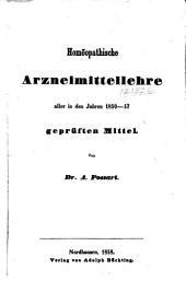 Homöopathische Arzneimittellehre aller in den Jahren 1850-57 geprüften Mittel: Band 1