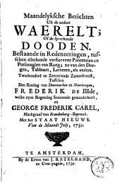 Maandelijksche berichten uit de andere waerelt of de sprekende dooden: Bestaande en redeneeringe tusschen allerhande verstorvene potentaten en personagien van rang, ..., Volume 2