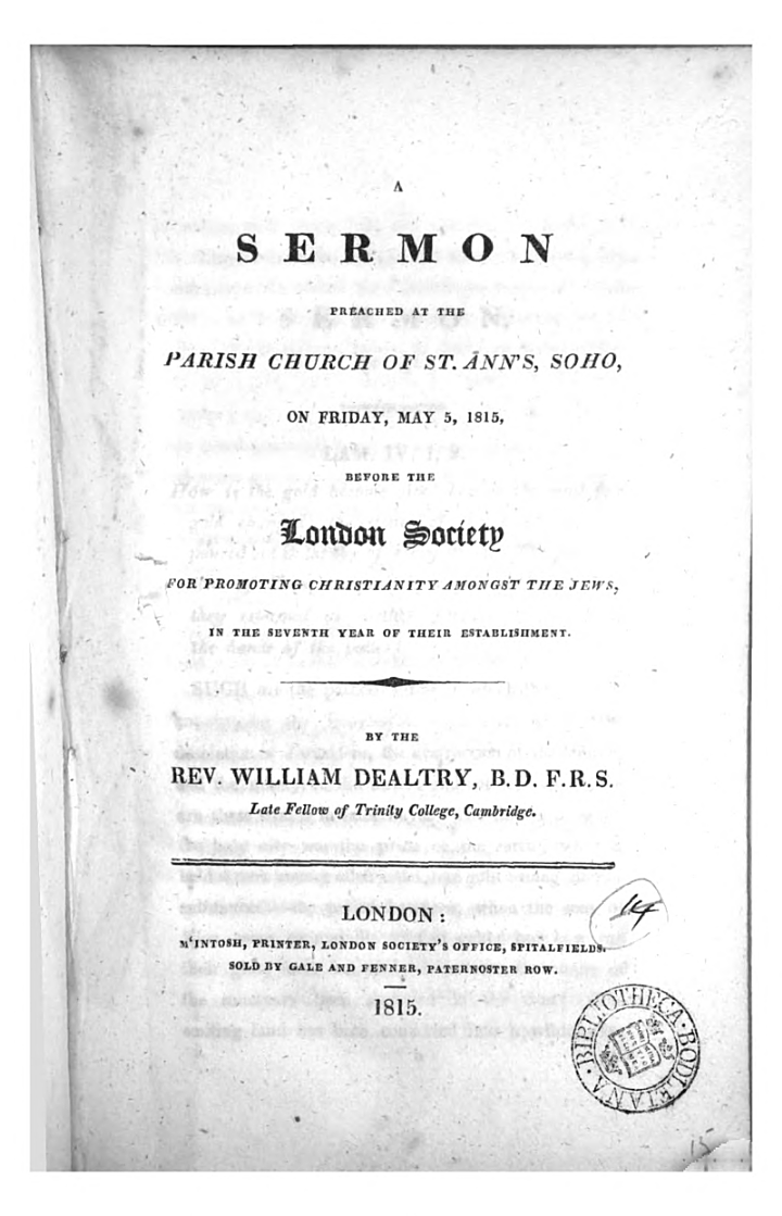 A sermon [on Lament. iv, 1, 2] preached ... before the London society for promoting Christianity among the Jews