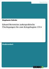 Eduard Bernsteins außenpolitische Überlegungen bis zum Kriegsbeginn 1914