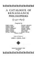 A Catalogue of Renaissance Philosophers (1350-1650)