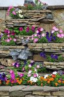 A Summer Flower Garden on a Rustic Stone Wall Journal