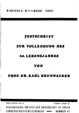 Festschrift zur Vollendung des 60  Lebensjahres von Prof  Dr  Karl Brunnacker