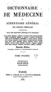 Dictionnaire de médecine ou Répertoire général des sciences médicales considérées sous le rapport théorique et pratique: Volume10
