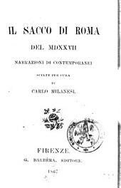 Il sacco di Roma del 1527 narrazioni di contemporanei scelte per cura di Carlo Milanesi