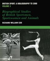 British Sport   a Bibliography to 2000 PDF