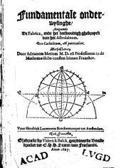 Fundamentale onderwijsinghe, aengaende de fabrica en het veelvoudigh gebruyck van het Astrolabium, soo catholicum als particulier