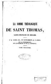 La Somme théologique de Saint Thomas: Volume13
