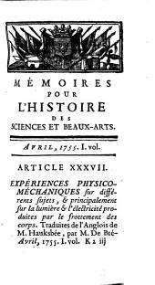 Memoires pour L'Histoire des Sciences et des Beaux Arts: Volumes1à2