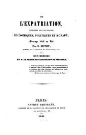 De l'expatriation: considérée sous ses rapports économiques, politiques et moraux