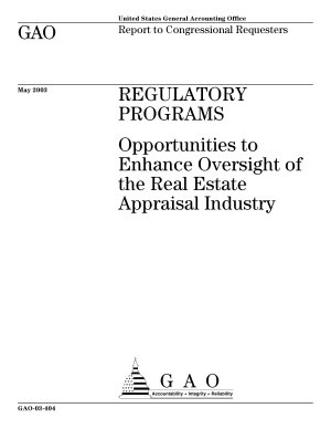 Regulatory programs opportunities to enhance oversight of the real estate appraisal industry   report to Congressional requesters
