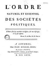 L'ordre naturel et essentiel des sociétés politiques