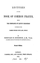 Lectures on the Book of common prayer