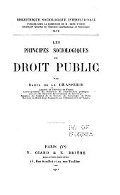 Les Principes Sociologiques Du Droit Public