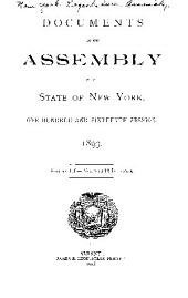 Documents of the Assembly of the State of New York: Volume 116