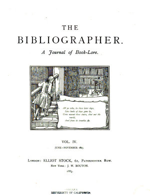 The Bibliographer  a journal of book lore PDF