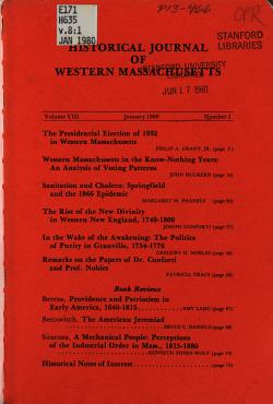 Historical Journal of Western Massachusetts PDF
