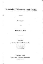 Staatsrecht, Völkerrecht und Politik: Monographien, Band 1
