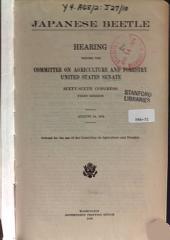 Japanese Beetle: Hearing Before ..., 66-1, August 14, 1919