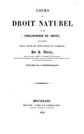 Cours de droit naturel ou de philosophie du droit, etc