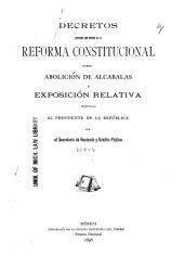 Decretos expedidos con motivo de la Reforma Constitucional sobre abolición de alcabalas