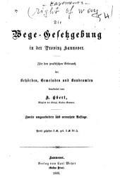 Die Wege-Gesetzgebung in der Provinz Hannover
