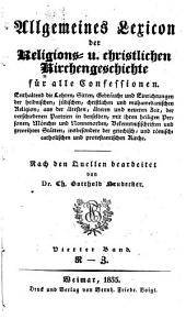 Allgemeines Lexicon der Religions-u. christl. Kirchengeschichte für alle Confessionen: Band 4