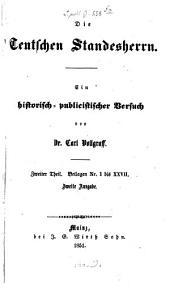 Die teutschen Standesherrn: Band 2