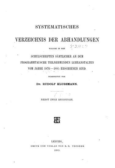 Systematisches Verzeichnis der Abhandlungen PDF