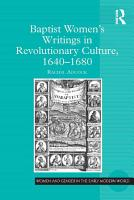 Baptist Women   s Writings in Revolutionary Culture  1640 1680 PDF