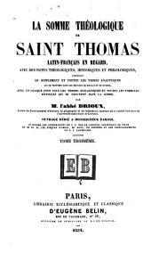 La Somme théologique de Saint Thomas: Volume3
