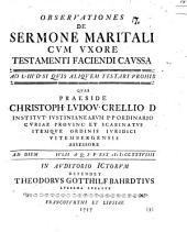 Observationes de sermone maritali cum uxore testamenti faciendi caussa