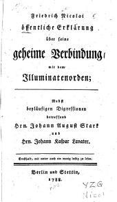 Friedrich Nicolai öffentliche Erklärung über seine geheime Verbindung mit dem Illuminaten-orden