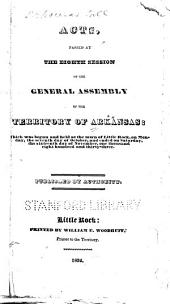 Acts Passed by the General Assembly of the Territory of Arkansas