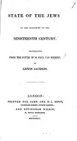 State of the Jews in the beginning of the Nineteenth Century  translated from the Dutch of     P  van H  By Lewis Jackson PDF