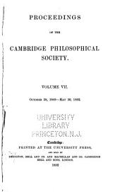 Proceedings of the Cambridge Philosophical Society: Mathematical and physical sciences, Volumes 7-8