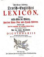 Teutsch Englisches Lexicon PDF