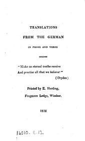Translations [by E.C. Knight] from the German [chiefly of G.F. Seiler] in prose and verse