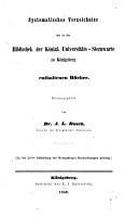 Systematisches Verzeichniss der in der Bibliothek der K  nigl  Universit  ts Sternwarte zur K  nigsberg enthaltenen B  cher PDF