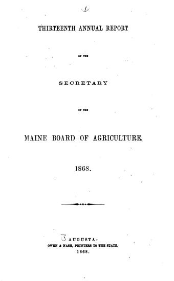 Annual Report of the Secretary of the Maine Board of Agriculture PDF