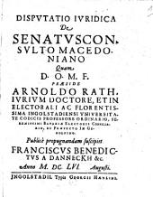 Disp. iurid. de senatus consulto Macedoniano