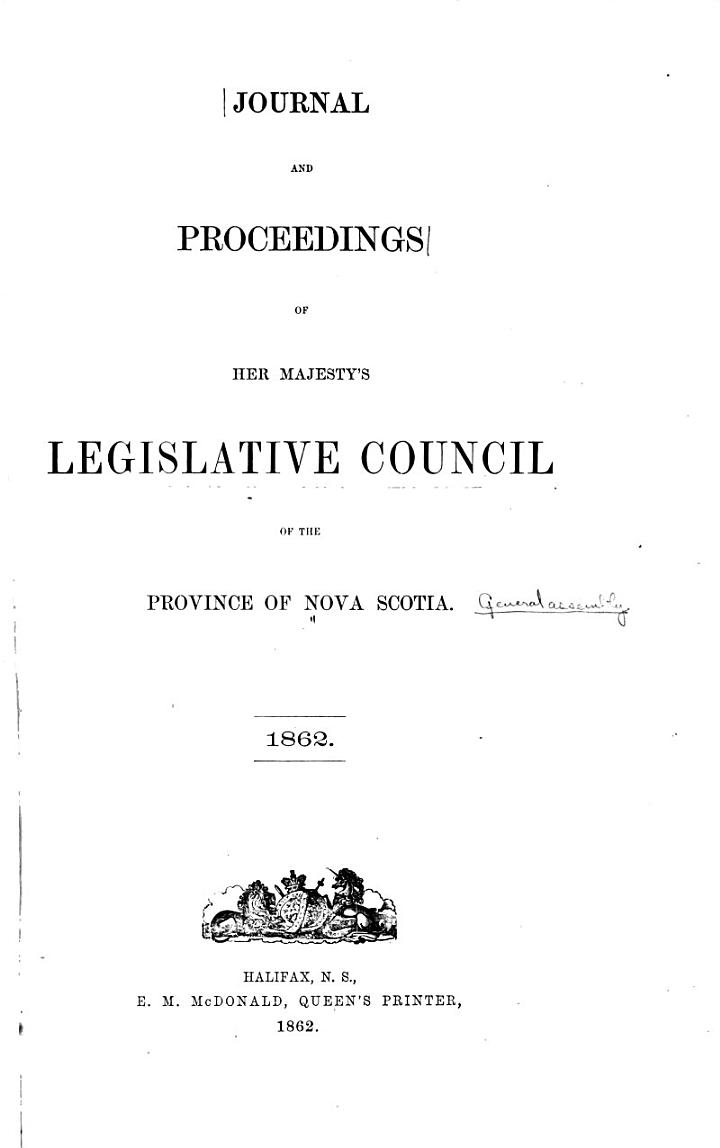 Journals and Proceedings of the House of Assembly of the Province of Nova Scotia