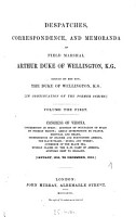 Despatches  Correspondence and Memoranda of Field Marshal Arthur Duke of Wellington PDF