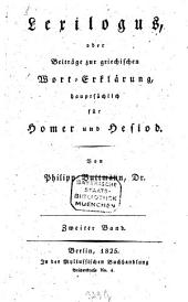 Lexilogus oder Beiträge zur griechischen Wort-Erklärung, hauptsächlich für Homer und Hesiod: 2